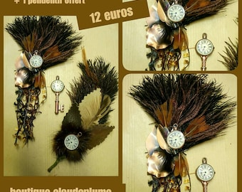 steampunk 2 applications feathers + pendant offered
