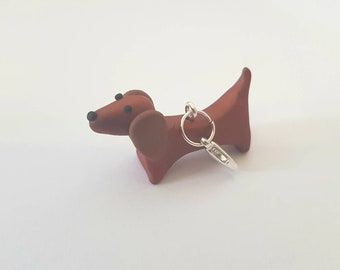 NEW sausage dog dashund Polymer clay stitch markers progress keepers or charm