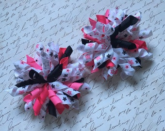 Rockstar Pink and Black Korker Bow, Girls Pink and Black korker Bow, Rockstar Korker Bow Clip, Rockstar Hairbow