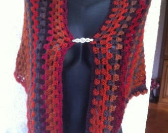 Ombre shawl in black, grey, Burgundy, Brown, rust wool and acrylic