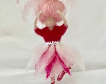 Needle Felted Pink Ballerina soft sculpture
