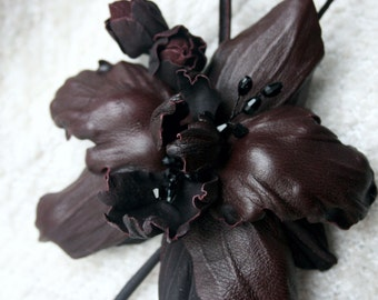 Burgundy Red Leather Orchid Flower Brooch/ Hairclip