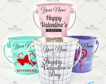 Personalized Mini Bucket Pail with name, Valentines Day gift for kids, boy and girl valentine gift
