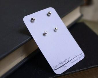 Meteor & Asteroid Studs - Stud Earring Set - Meteor Studs - Asteroid Studs - Recycled Argentium Silver - Hypoallergenic Post Earrings