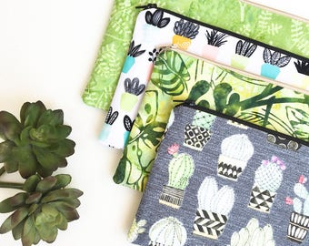 Cactus Zipper Pouch, Green Pencil Pouch, Greenery Pencil Case, Cosmetics Bag, Organizer Bag, School Supplies Gift For Her, Gift for Women