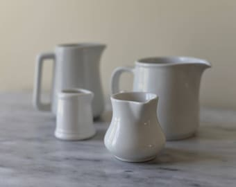 Vintage Stoneware Pitcher Creamers in White