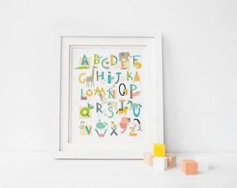 ABC Wall art - Alphabet art - Animal nursery - abc nursery print - gender neutral - letter art print