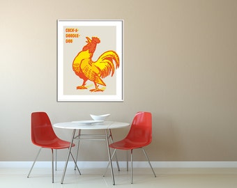 Extra Large Wall Art, Vintage Rooster, Retro Kitchen, Rooster Decor