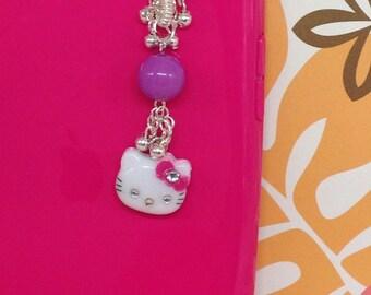 Kitty cell phone charm, headphone jack charm, dust plug, dust plug charm, iphone charm, kawaii charm, ipad charm