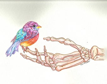 Skeleton Series 1 - Watercolor Bird on Hand Painting