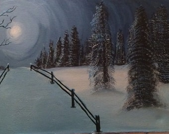 Light unto my Path - christian art painting, winter scenery painting, winter wonderland painting, 2timothys16, blue and white paintings
