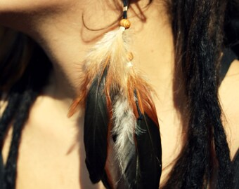 Rooster feather earring