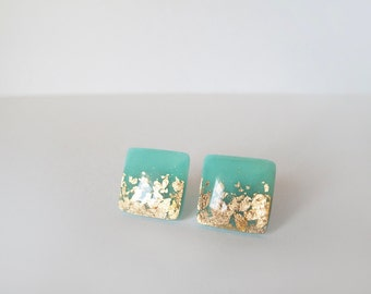 Mint Green Gold Square Stud Earrings - Hypoallergenic Surgical Steel Post