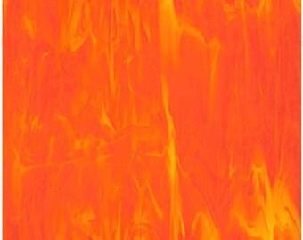 Sheet - BRIGHT ORANGE WISPY Translucent Stained Glass Supply H02