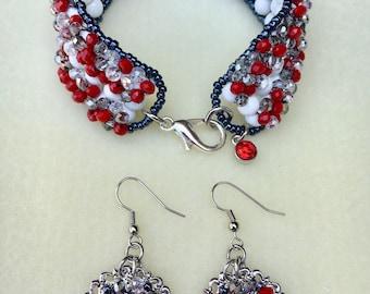 "Size 8"" Hand-Beaded Bracelet and Earrings Set"