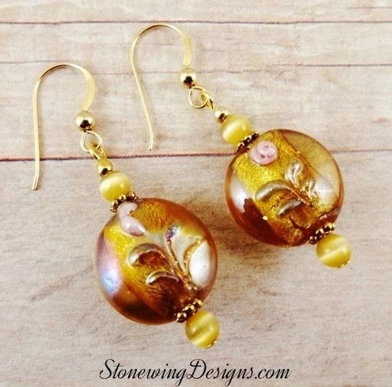 Golden Luster Lamp Glass Earrings