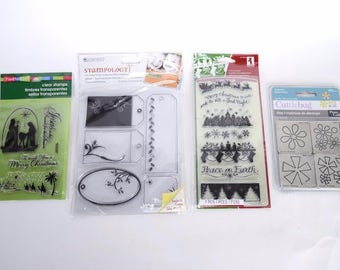 Christmas Clear Stamps - 4 Dies by Cuttlebug Provo Craft & Tag Rubber Stamps Stampendous and Stampology and Die -  New -- CODE 4