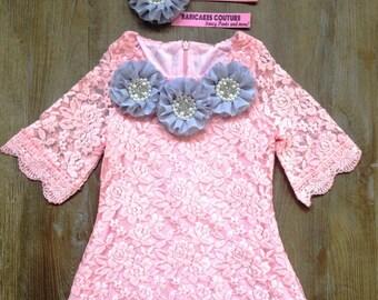 Pink Easter Dress, 1st Birthday Dress, Baby Girl Pink Lace Dress, Pink Egg Hunt Dress, Pink Lace 1st Birthday Dress, Pink & Gray Lace Dress