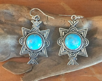 E26 Canoncito Cross Turquoise Sterling Silver Earrings