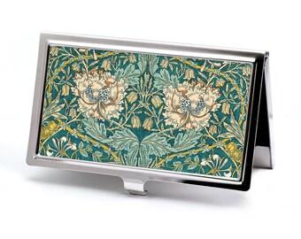 Honeysuckle Business Card Holder - William Morris Credit Card Holder - Victorian Card Wallet -  Vintage Business Card Case - Employee Gift