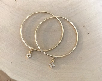 40mm Gold Filled Endless Hoops with CZ Charm