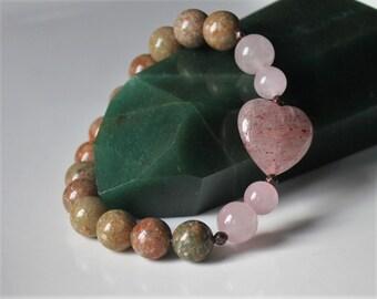 Strawberry Quartz Bracelet , Attract Love Bracelet, Balance Heart Chakra, Unakite Bracelet, Heart Chakra Healing, Love Bracelet