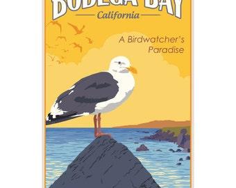 Bodega Bay Birds Travel Ad Wall Decal #44824