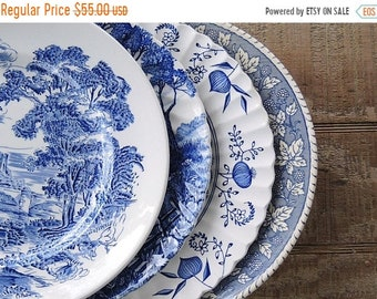 ON SALE Mismatched Blue and White Dinner Plates for Weddings Set of 4 English Blue Transferware English China, Rustic Replacement China