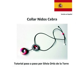 Zebra Rings Polymer Clay Necklace step by step tutorial. Spanish Version.