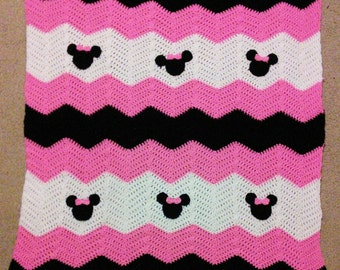 Pink Black and White Minnie Mickey Mouse Crochet Baby Afghan, Baby blanket ripple afghan