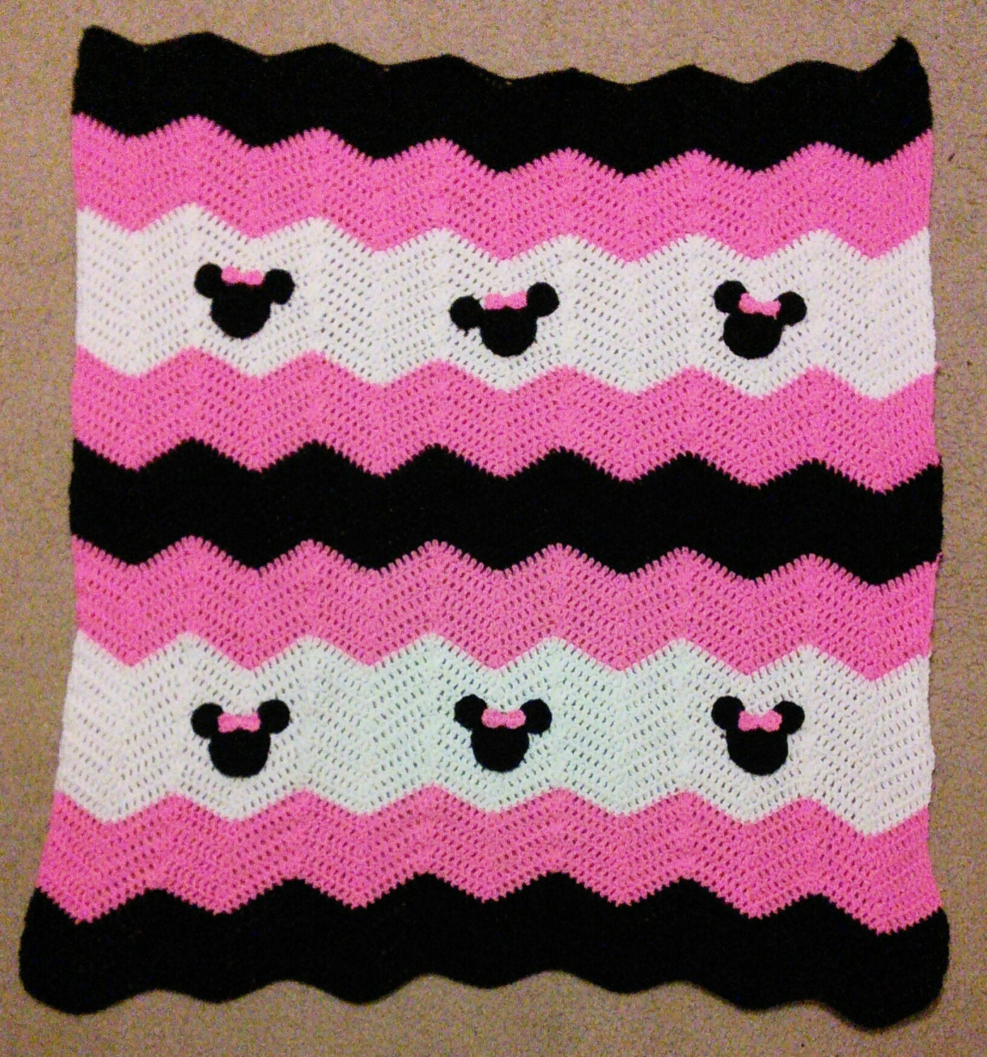 Pink Black and White Minnie Mickey Mouse Crochet Baby Afghan