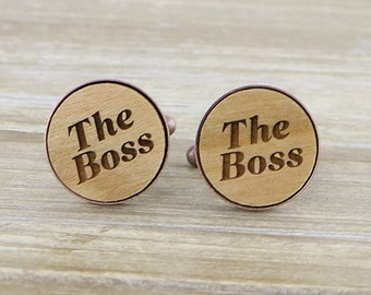 The Boss Copper Cuff links - Fathers Day Gift Idea - Groom gift Idea  Australian seller- Bronze/Copper/Pewter/Silver/Rose Gold and Gunmetal