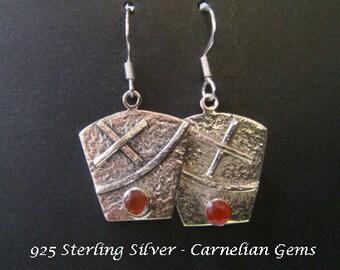 Silver Earrings 016: Sterling Silver Earrings with Carnelian Gemstone set on Hammer Finish Ornate Drop Earrings | Gemstone Earrings
