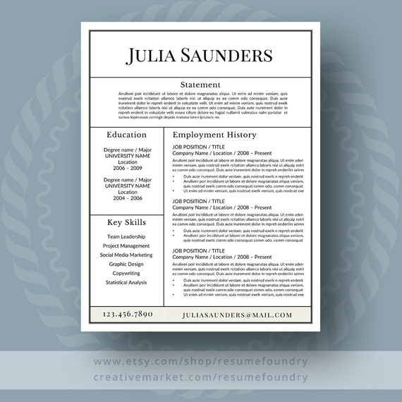 Classic Resume Template For Word 1 3 Page Resume Cover