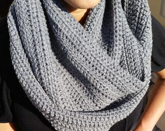 Grey Infinity Scarf, Grey Scarf, Gray Infinity Scarf, Gray Scarf, Grey Crochet Infinity Scarf, Grey Circle Scarf, Grey Loop Scarf