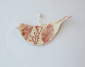 Ceramic bird hanging red enamel decor leaf print