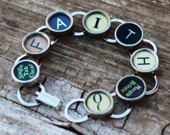 Typewriter Key Bracelet, Upcycled Bracelet, Faith Bracelet, Christian Bracelet, Mother In Law Gift Idea, Spiritual Bracelet