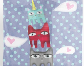SCARVE  -  Polka Dots Cats Love Quote