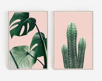 Set of Prints,Cactus Print,Set of 2 Prints,Dorm Decor,Pink Wall Art,Tropical Print,Cactus Art,Pink Cactus Print,Palm Leaf Print,Wall Art