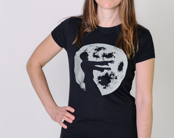 Women's black bamboo t-shirt, zombie full moon shirt, ladies extra long tunic shirt, ready to ship