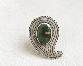 Ocean Jasper Paisley Ring Sterling Silver Natural Green Jasper with Pink Twins Paisley Dots Statement Ring Handmade Jewelry Size 7.5