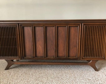 Mid-Century Modern Sylvania Stereo Console Working Radio And Record Player - Shipping NOT Included