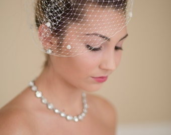 Birdcage Veil French Veiling with Dots Blusher Wedding Veil  Ready to Ship in Ivory