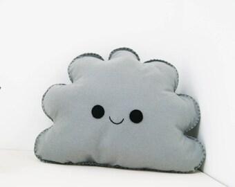 Smiling grey cloud cushion, cloud shape pillow, happy face pillow, Cloud Nursery decor, Kids Room Decor, Baby Room Decor, Kids Cushion