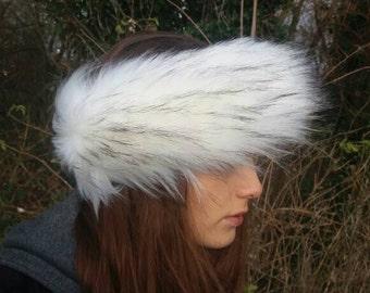 Extra Special White Faux Fur Black Tip Headband / Neckwarmer / Earwarmer