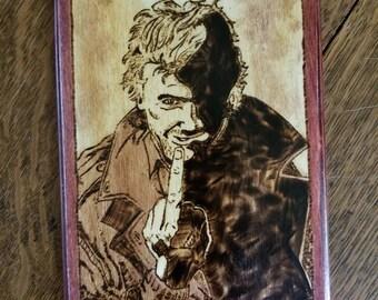 Hellblazer inspired John Constantine wood burned wall art