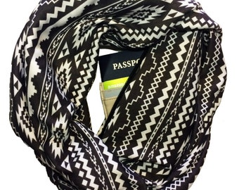 Azteca | Hidden Pocket Scarf | Infinity Scarf Passport Wallet Holder Travel Scarf Money Belt Gray Tribal Travel Gift Secret Pocket Zipper