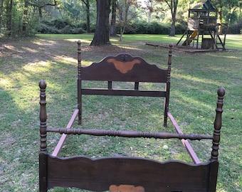 Primitive Bedding, Antique Bed, Wood Frame, Farmhouse, Ranch Decor,