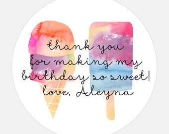 Personalized Thank You stickers, Watercolor, Ice Cream, Popsicle, Ice Cream Party, Birthday Gift Stickers, gift tags, colorful, girl, boy