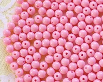 200Pcs 6mm Bubblegum Pink Plastic Beads